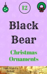 12 Black Bear Christmas Ornaments