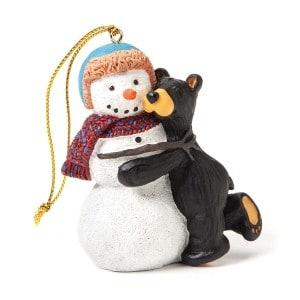 Black bear and snowman Christmas Ornament