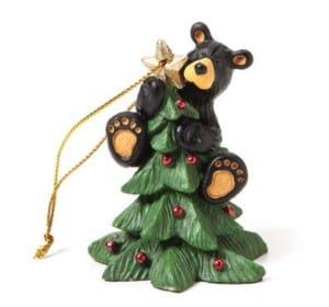 Black bear christmas tree ornament
