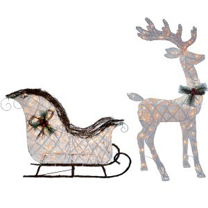 Clear Sleigh and Reindeer Set with Mini Lights