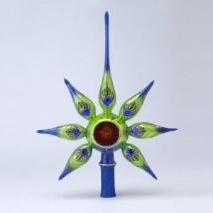 Glass Retro Peacock Christmas Tree Toper