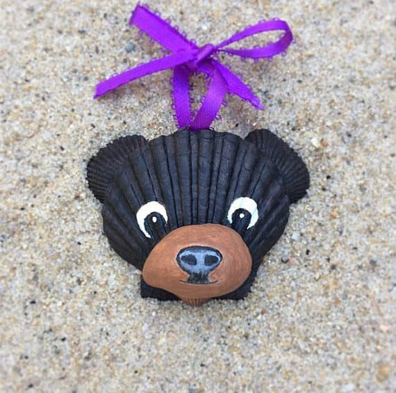 Hand-Painted Seashell Ornament with Black Bear Face