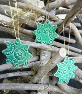 Mint Green Christmas Star Ornaments Lace Ceramic Christmas Ornaments