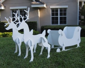 Outdoor Sleigh and Two Reindeer Set