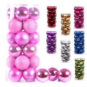 Pack of pink ball Christmas ornaments