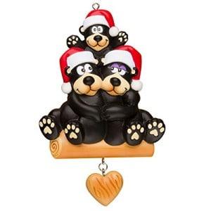 Personalized Black Bear Christmas Ornament