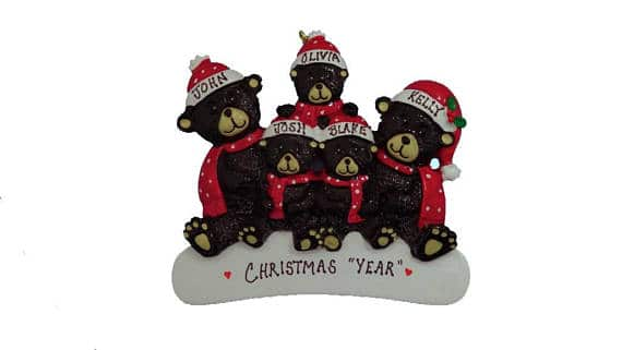 Personalized Christmas Bear Family of 5
