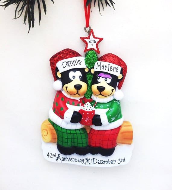 Personalized Ornament with Newlywed Bear Couple