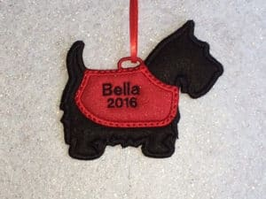 Personalized Felt Scotty Dog Ornament