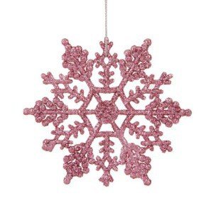 Pink Glitter Snowflake Christmas Tree Ornament