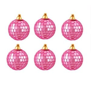 Pink disco ball Christmas Ornaments