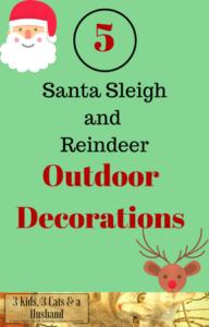 Santa Sleigh and Reindeer Outdoor Decorations