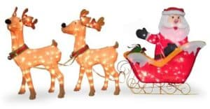 Santa Sleigh and Reindeer Set with Mini Lights
