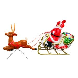 Santa Sleigh and Reindeer with Lights