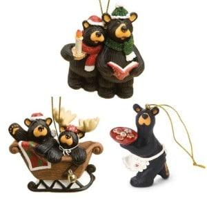 Set of 3 Black Bear Christmas Ornaments