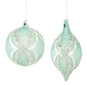 Set of mint green and silver hanging christmas ornaments