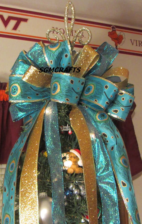 turquoise and gold ribbon topper - Peacock Christmas Tree Topper