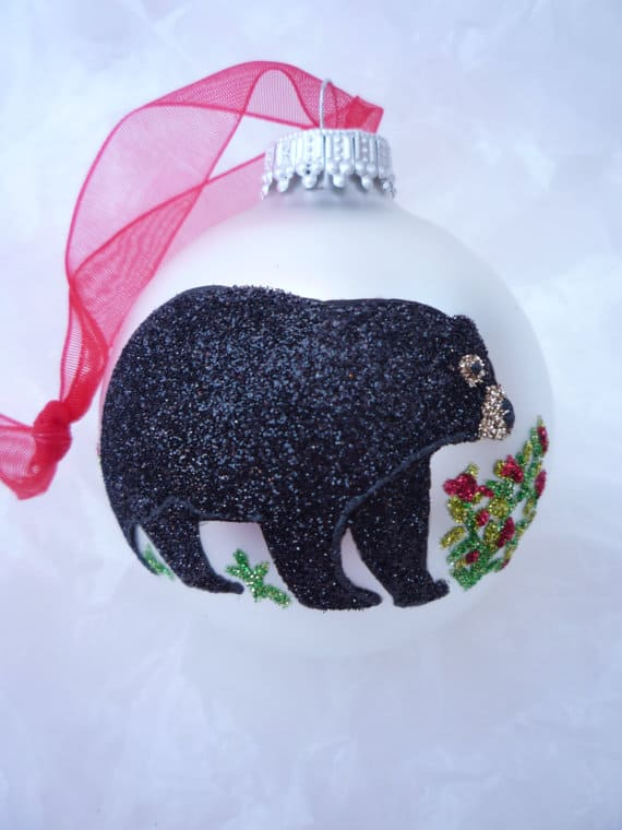 White Glass Ornament with Sparkling Glitter