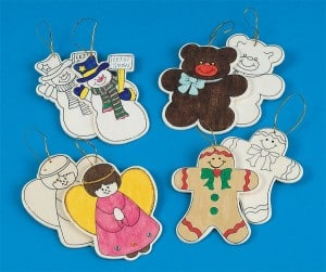 Wooden unfinished Christmas ornaments to paint
