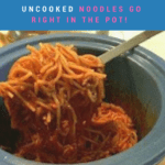 Crockpot Spaghetti recipe with uncooked noodles