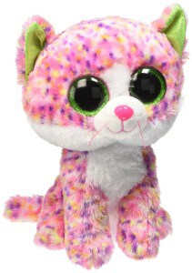 Stuffed animal pink cat with big green eyes