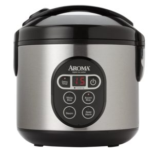 Aroma 8 cup rice cooker and vegetable steamer with delay timer