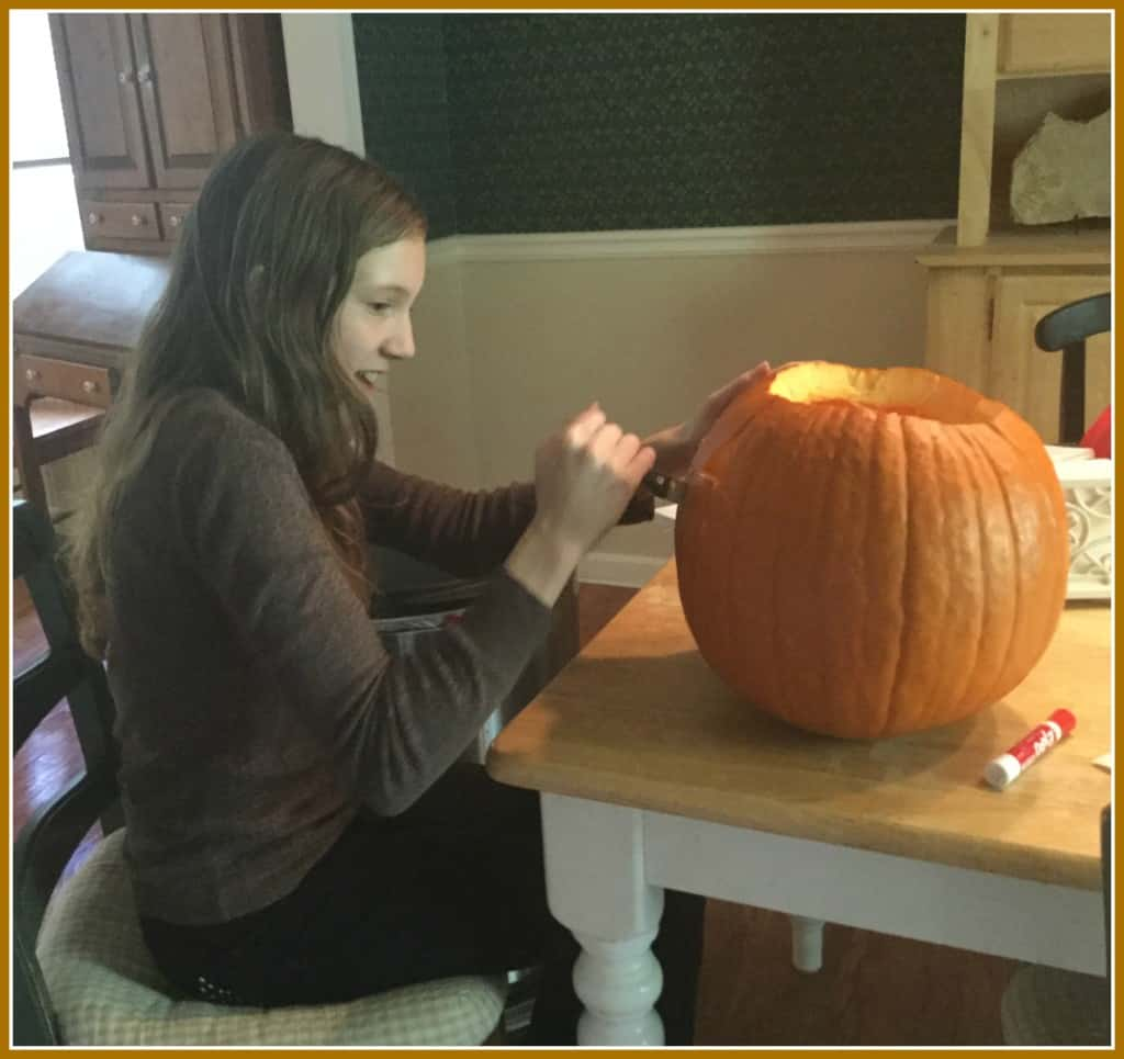 Becca carving pumpking