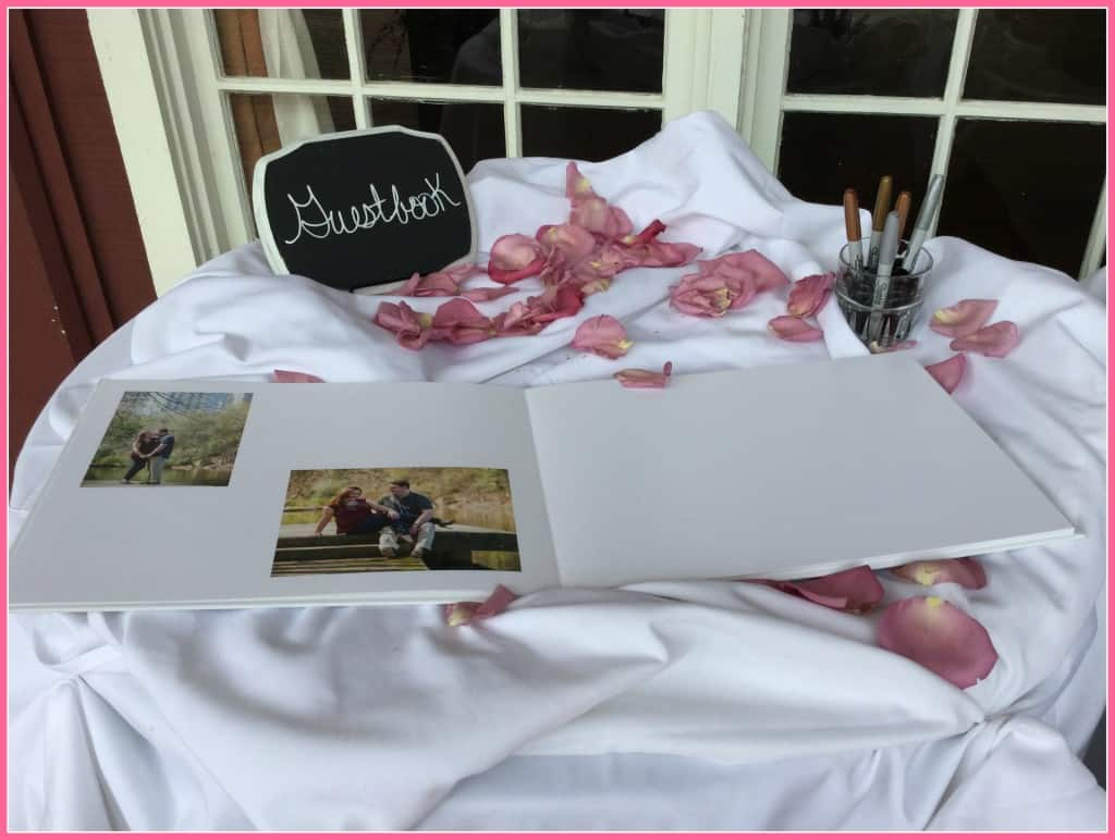 Guest book table at outdoor wedding