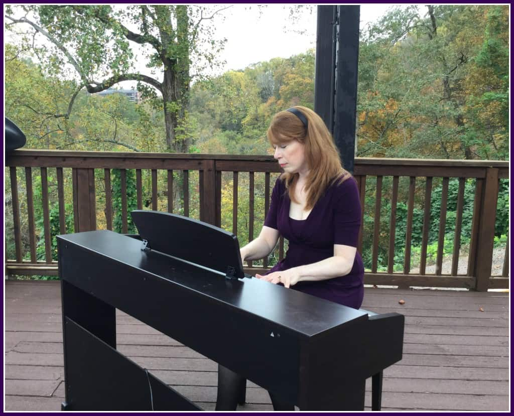 Playing Aerosmith and Ode to Joy on piano at outdoor wedding