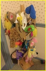 Wooden Puppet tree holder for kids