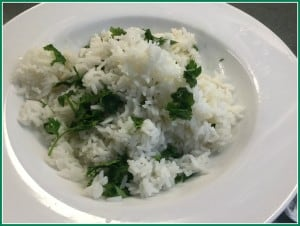 Rice cooker rice with cilantro and lime