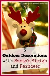 Outdoor Decorations with Reindeer and Santa Sleigh