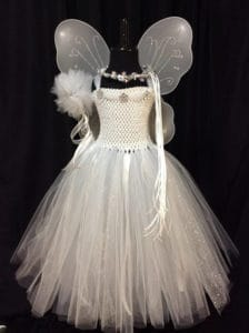 Angel fairy tulle dress with crown, wand, and wings