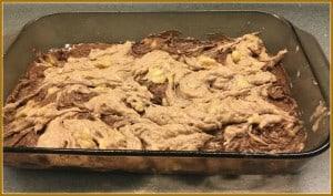 Chocolate banana bars swirled