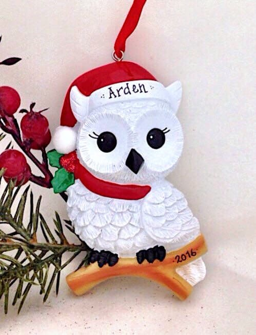 Personalized White Owl With Santa Hat