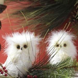 Set of 2 Snowy Owl Christmas Ornaments