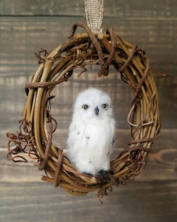 Snowy Owl in a Grapevine Wreath