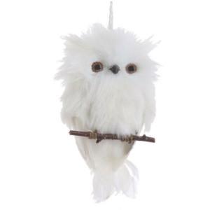 White Feather Snowy Owl Christmas Ornament