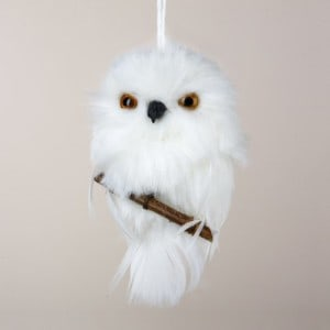 White Snowy Owl on Branch Christmas Ornament