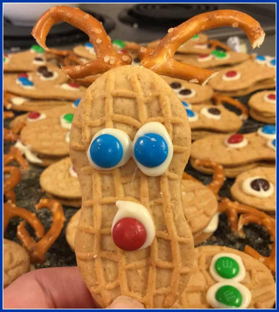 Finished Nutter Butter Reindeer cookie