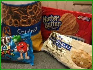 Ingredients for nutter butter reindeer christmas cookies
