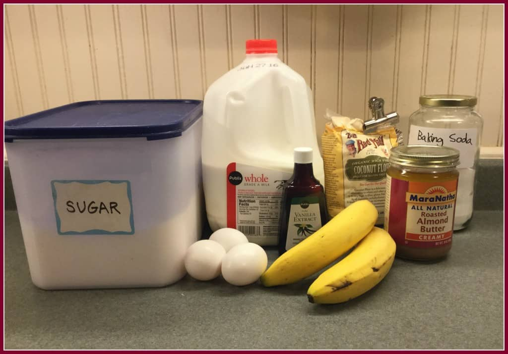 Ingredients for Gluten Free banana almond butter mini muffins