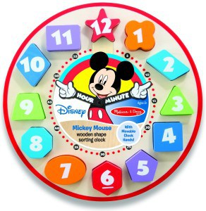 Mickey Mouse Shape Sorter Clock Toy for Toddlers and Babies