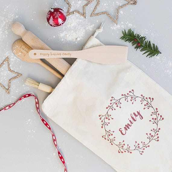 Personalized Baking Utensils in a Cotton Bag