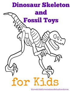 a brush, chisel, dinosaur block, glow in the dark dinosaur skeleton, goggles, growing dinosaur and activity guide