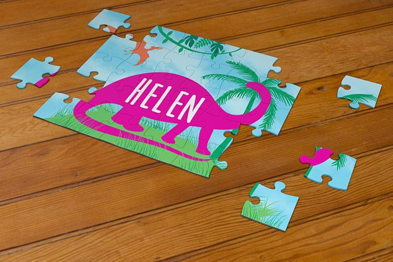 Pink Dinosaur Puzzle Personalized with Name