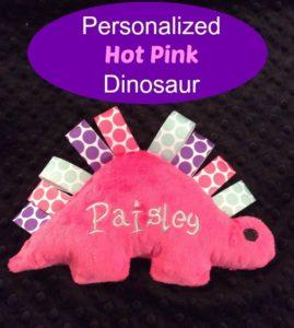 Personalized hot pink stuffed dinosaur