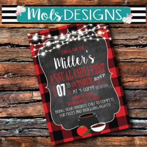 Chalkboard Annual Chili Fest Invitations