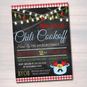 Chili Cookoff Printable Invitation red and white plaid