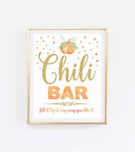 Printable Chili bar sign